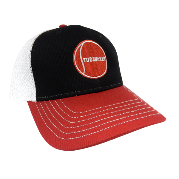 Black Red and White Mesh Hat